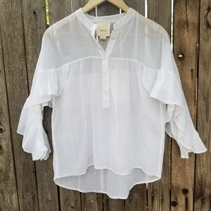 Anthropologie  Maeve  white blouse size small